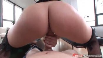 A slow seductive striptease leaves Hope Harper naked and ready for the bald pussy stiffie ride...