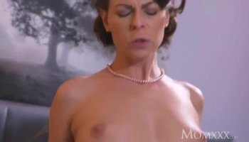 Mature blonde woman Brenda James topping young cock